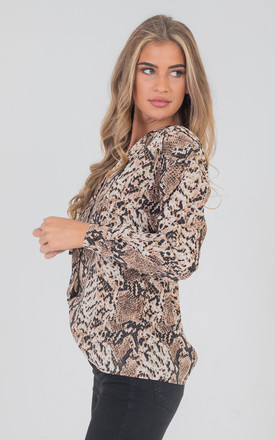Snake Print Long Sleeve Over Size Shirt Blouses Top In Tan by Saint Genies
