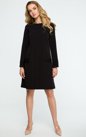 Black A Line Long Sleeve Pleat Front Dress by MOE