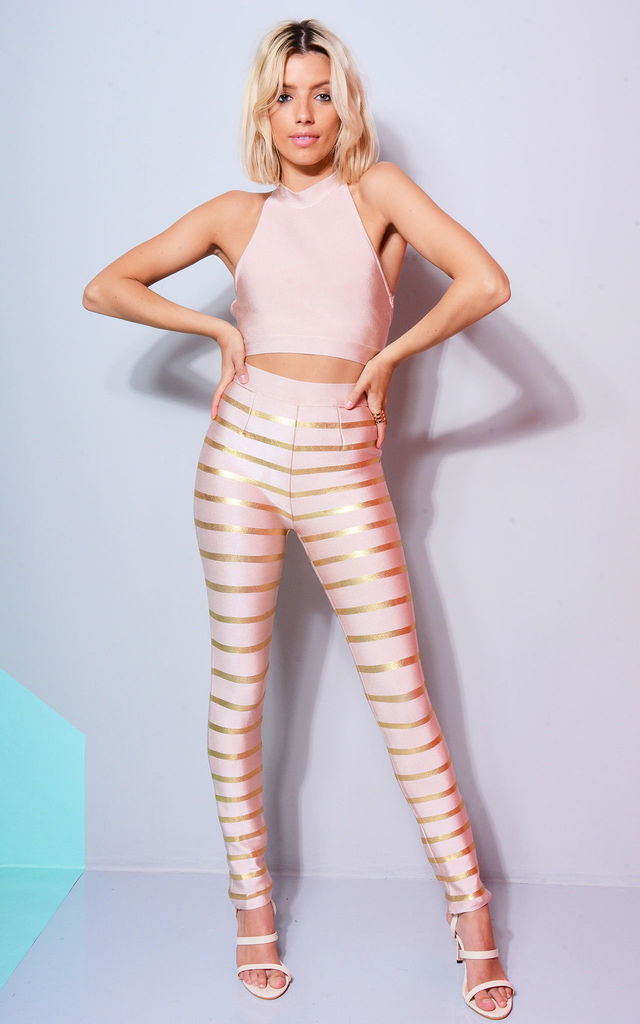 Pink And Gold Bandage Co-ord Crop And Trousers by LOVEMYSTYLE