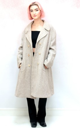 1980s vintage beige wool winter coat by Colour Me Vintage