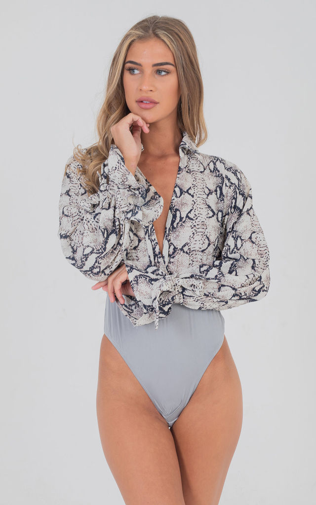 Grey Snake Print Tie Up Long Bell Sleeve Chiffon Bodysuit by Saint Genies