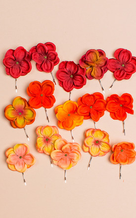 Bronwen Hydrangea Blossom Bobby Pins - Rust by Crown and Glory