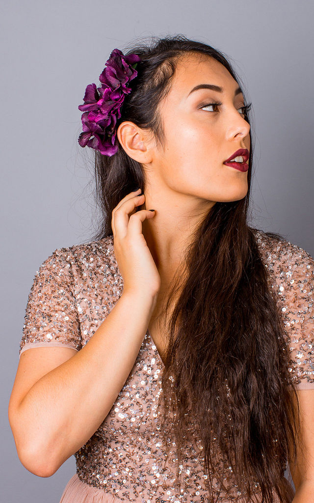 Bronwen Hydrangea Comb Side Headpiece - Plum by Crown and Glory