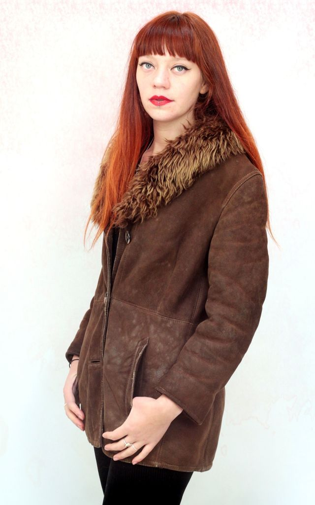 1970s vintage rich brown sheepskin coat with sherpa lining by Colour Me Vintage