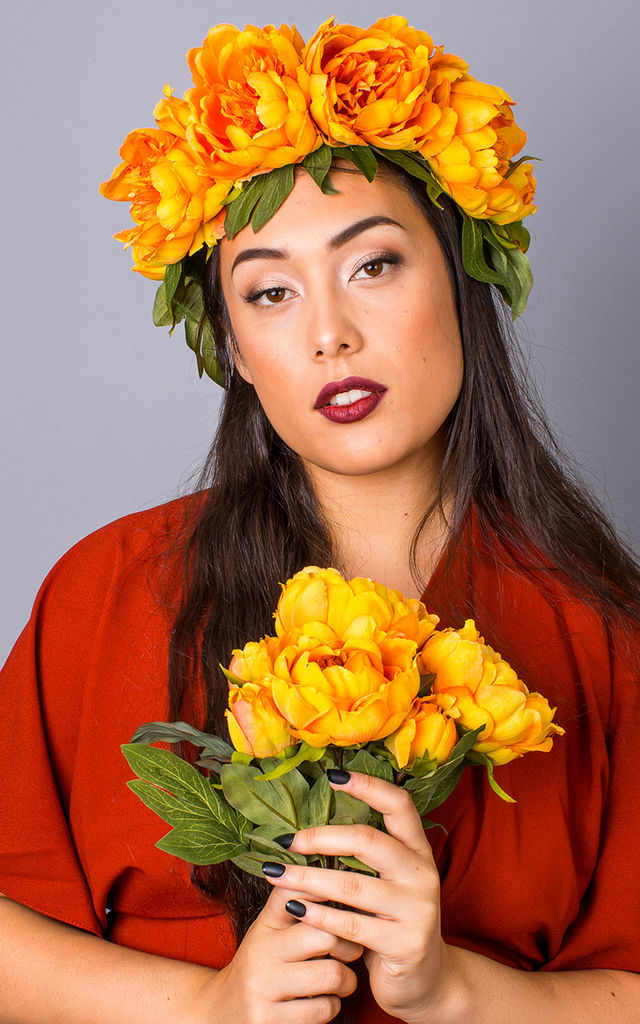 Autumn Oversized Peony Crown - Amber by Crown and Glory