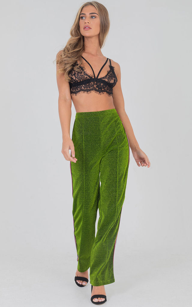 Green Glitter Wide Leg Pants With Side Striped Detail by Saint Genies