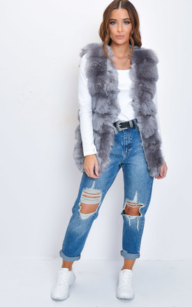 Soft Touch Faux Fur Fully Lined Gilet Grey by LILY LULU FASHION