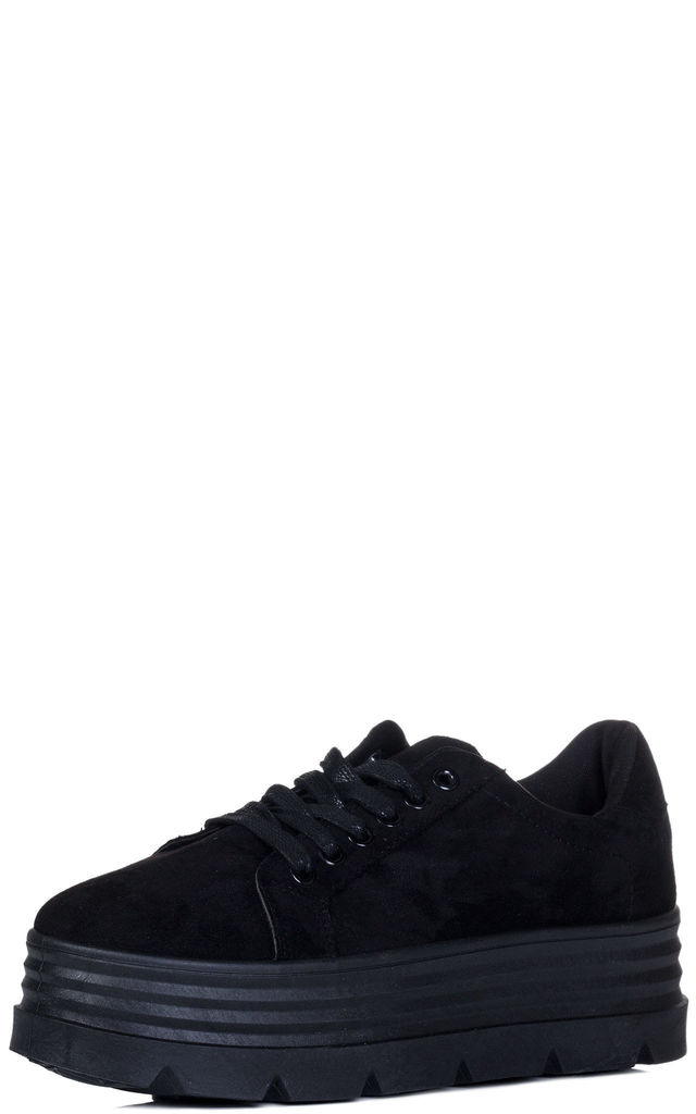 LOOWEY Chunky Triple Platform Flat Trainers Shoes - Black Suede Style by SpyLoveBuy