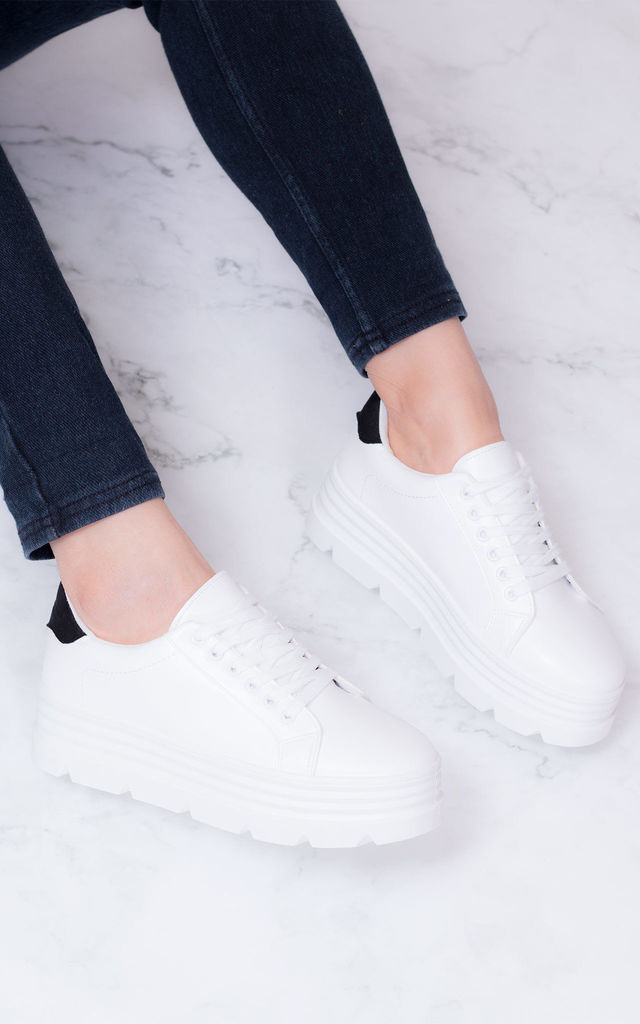 LOOWEY Chunky Triple Platform Flat Trainers Shoes - White Leather Style by SpyLoveBuy