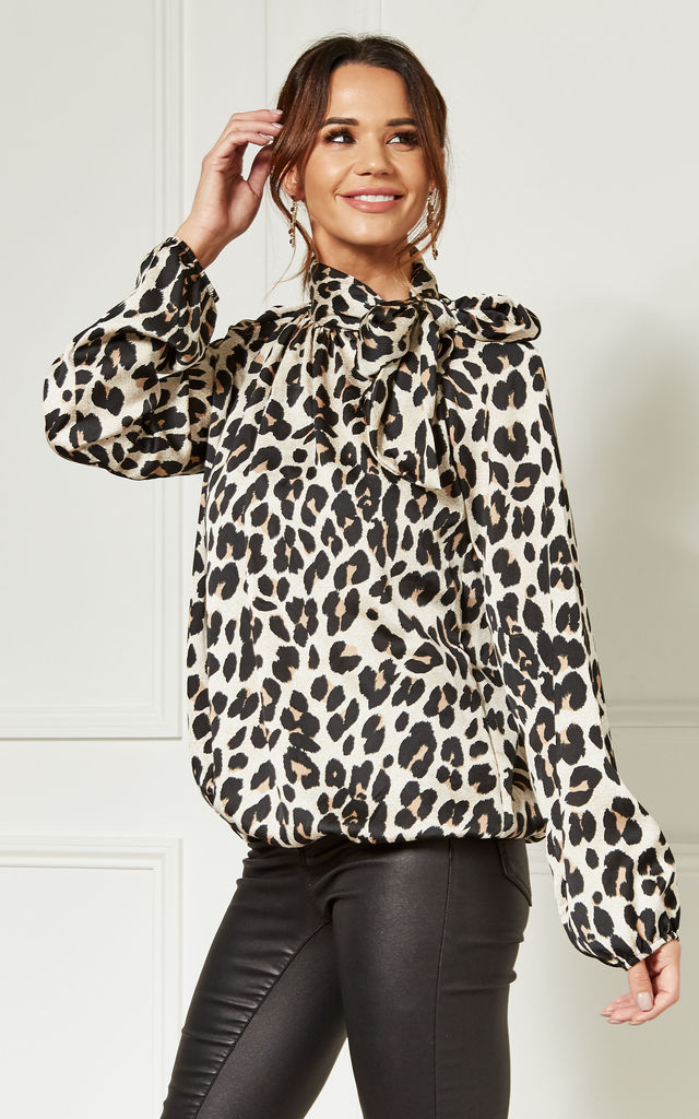 Leopard Print Pussybow Top by Bella and Blue