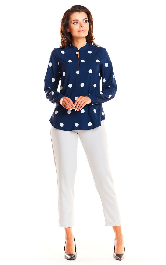 Navy blue polka dot long sleeve top by AWAMA