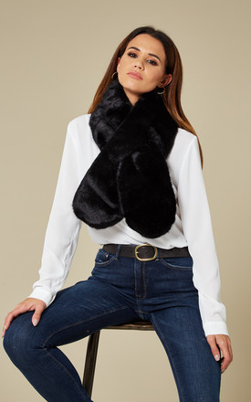 Black Faux Fur Scarf by Pieces Product photo