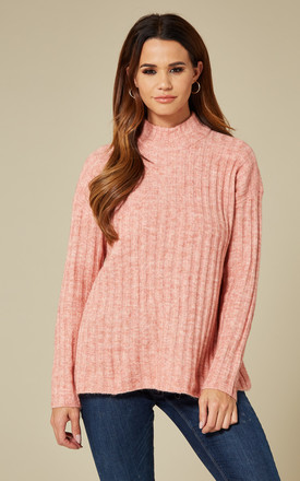 Rosette Melange Long Sleeve High Neck Knit by Pieces Product photo