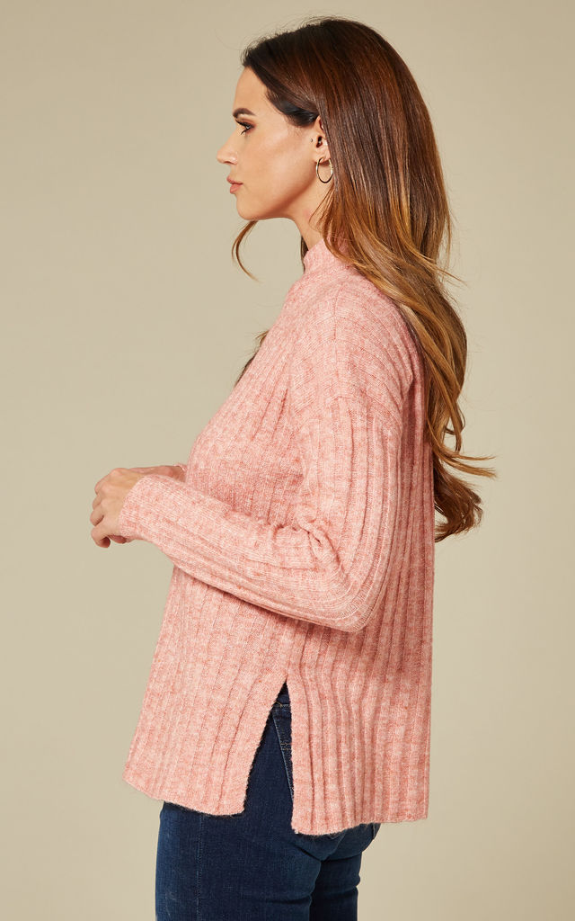 Rosette Melange Long Sleeve High Neck Knit by Pieces