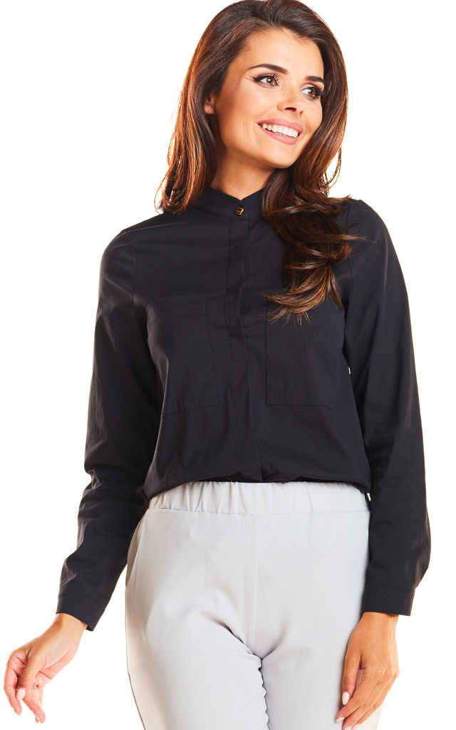 Black front pocket long sleeve shirt by AWAMA