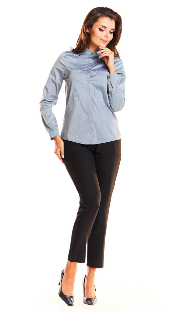 Grey front pocket long sleeve shirt by AWAMA