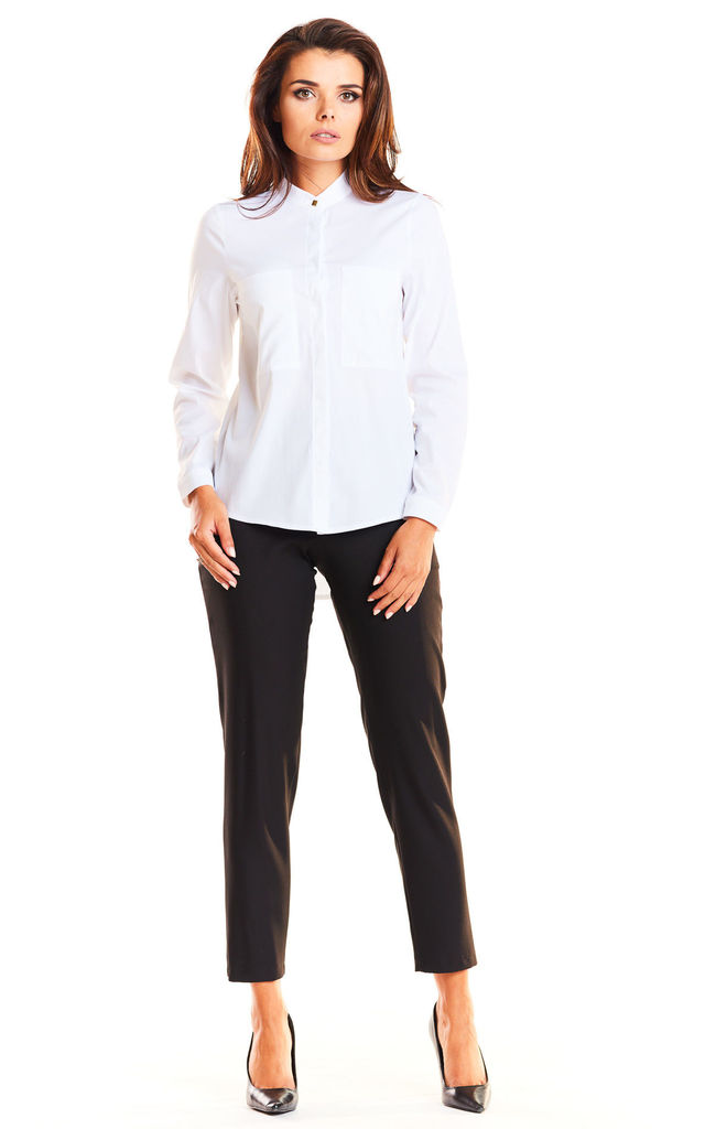 White front pocket long sleeve shirt by AWAMA