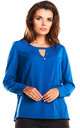 Blue v neck cut long sleeve top by AWAMA