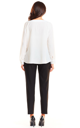Long sleeve v neck top in white by AWAMA