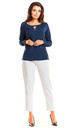 Navy blue v neck cut long sleeve top by AWAMA
