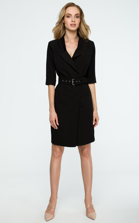 Black Belted Blazer Dress by MOE