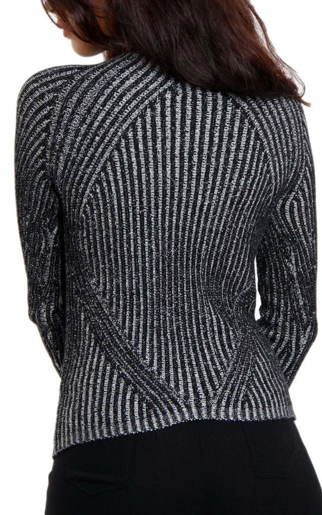 Black Ribbed Funnel Neck Long Sleeve Jumper by Urban Mist