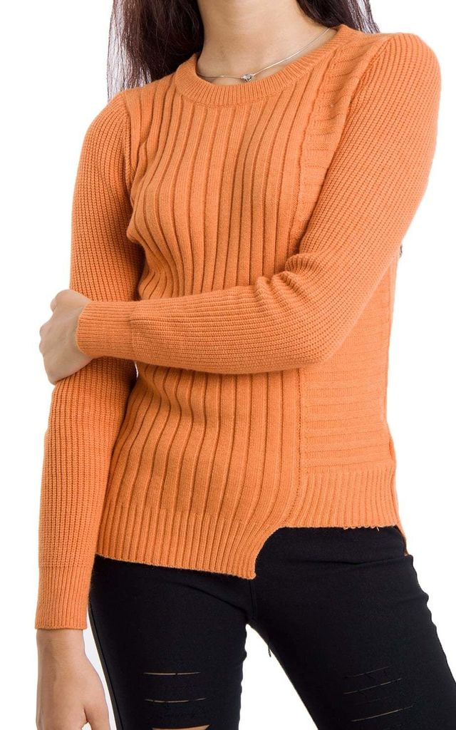 8f396912814 Orange Soft Knit Jumper With Cut Away Hem By Urban Mist