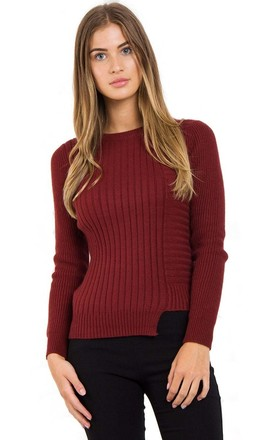 Wine Soft Knitted Jumper with Cut- Away Hem by Urban Mist