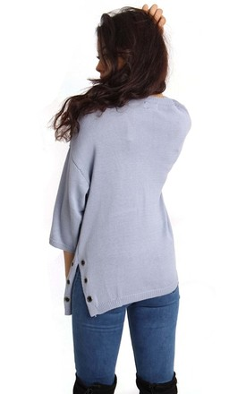 Powder Blue Oversized Split Side Pocket Eyelet Knitted Jumper by Urban Mist