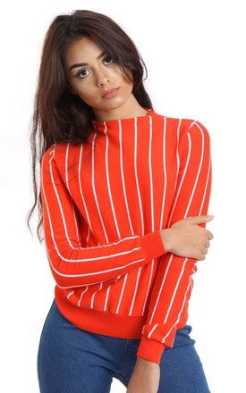 Orange/White Long Sleeve Stripe Fitted Knitted Jumper Sweater Top by Urban Mist