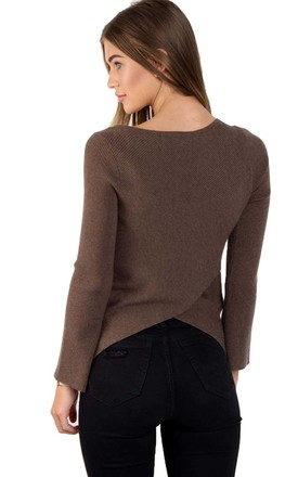 Brown Rib Knit Bell Sleeve Top With Cross Back by Urban Mist