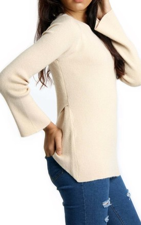Beige Rib Knit Bell-Sleeve Jumper Top With Cross Back by Urban Mist