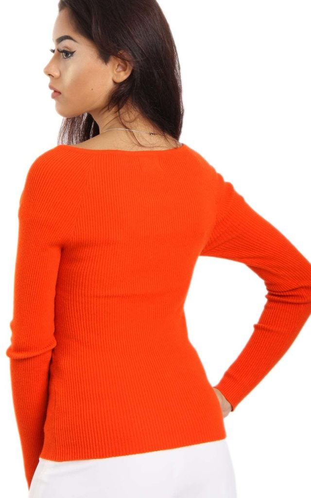 Coral Cross Front Ribbed Long Sleeve Jumper Top by Urban Mist