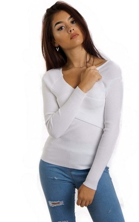 White Cross Front Ribbed Long Sleeve Jumper Top by Urban Mist