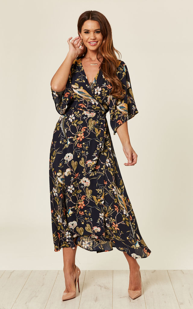84340ef477aa7 Midi Wrap Dress In Floral Print | Liquorish | SilkFred