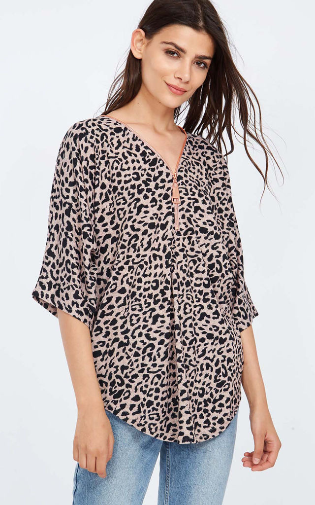 6d6afaa85632ca CHARLENE – Leopard Print Zip Front Pink Top by Blue Vanilla