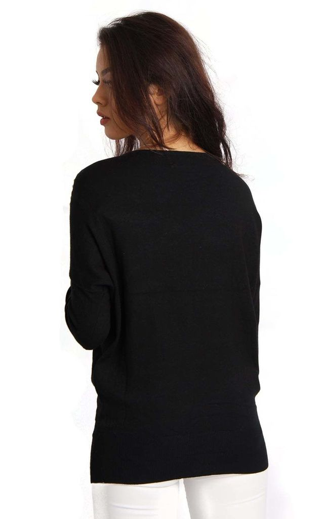 Black Soft Knit & Logo Sequin Bead Embelishment Jumper by Urban Mist