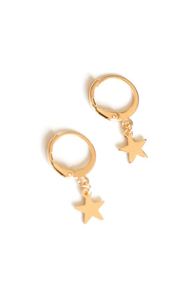 Tiny Star Hoop Earrings- Gold by Free Spirits