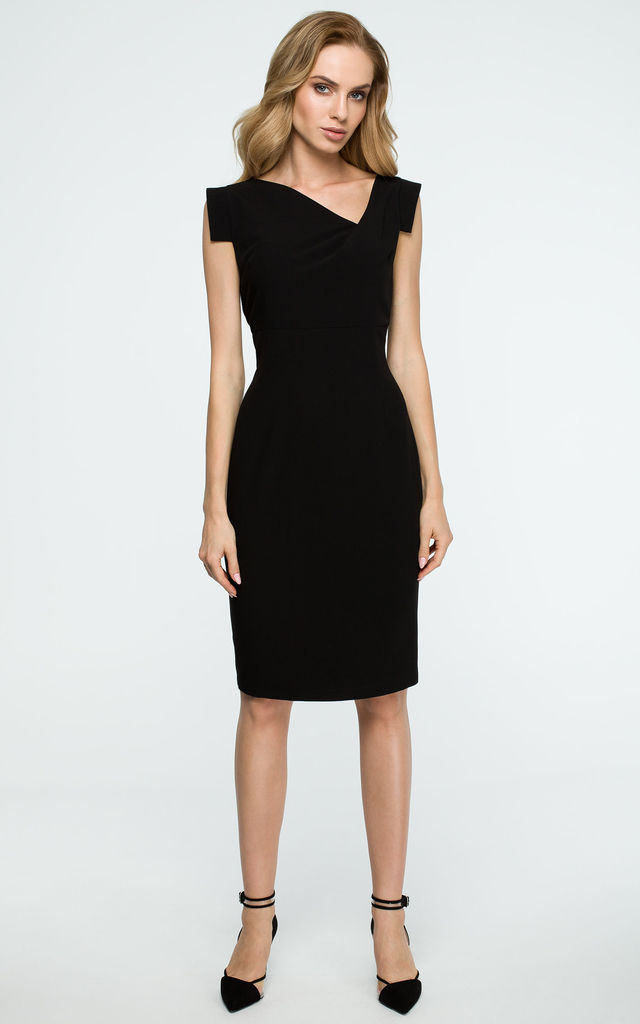 Black Pencil Dress With Asymmetric Neckline by MOE