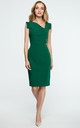 Green Pencil Dress With Asymmetric Neckline by MOE