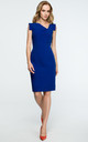 Royal Blue Pencil Dress With Asymmetric Neckline by MOE