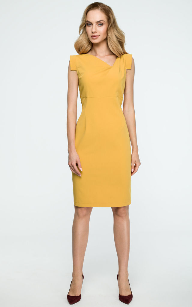 Yellow Pencil Dress With Asymmetric Neckline by MOE