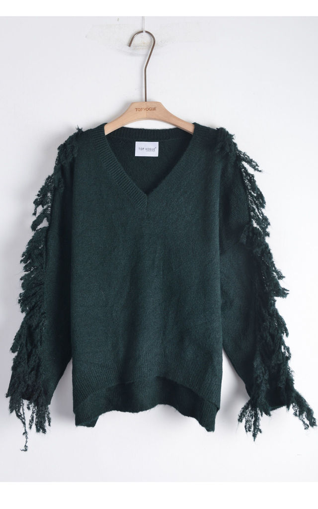 V Neck Jumper with Tassel Fringed Sleeves in Green by CY Boutique