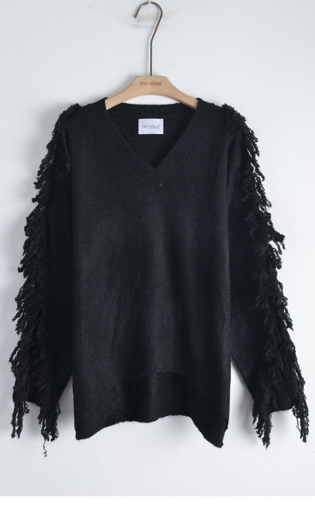 V Neck Jumper with Tassel Fringed Sleeves in Black by CY Boutique