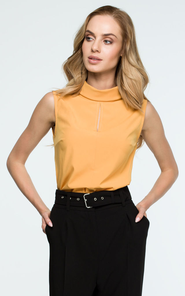 b7bff5be0636d0 Yellow High Neck Front Slit Blouse | MOE | SilkFred