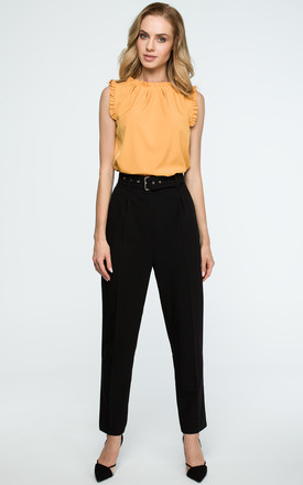 Black High Waist Tapered Trousers by MOE