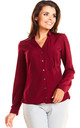 Deep red v neck front pocket long sleeve shirt by AWAMA