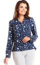 Navy blue floral v neck front pocket long sleeve shirt by AWAMA