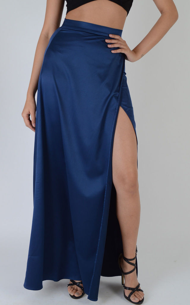 Navy Blue Satin Wrap Over Maxi Skirt With Side Split by LOVEMYSTYLE