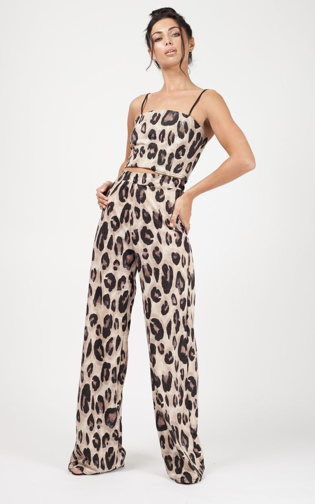 Dixie Lurex Leopard Print Co-ord In Stone by Vivichi